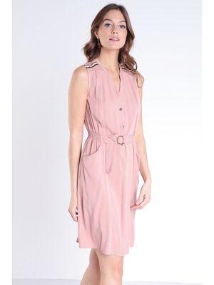 Robe unie sans manches detail ceinture vieux rose femme