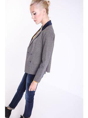 veste col crante femme bimatiere bleu fonce