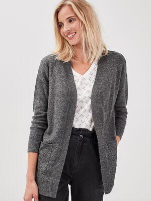 Cardigan manches longues gris fonce femme