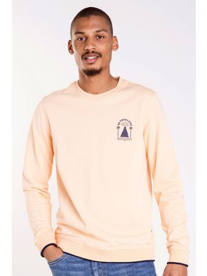 sweat col rond homme motif place orange clair