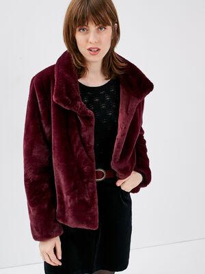 Manteau droit fausse fourrure prune femme