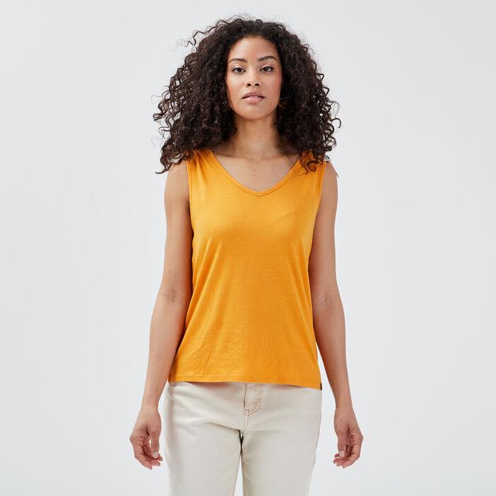Débardeur bretelles larges jaune moutarde femme