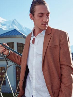 Manteau ajuste boutonne marron homme