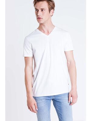 T shirt col V Instinct blanc homme