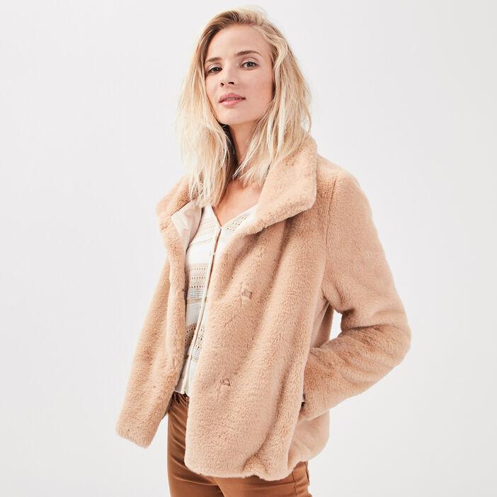 Manteau droit fausse fourrure beige femme