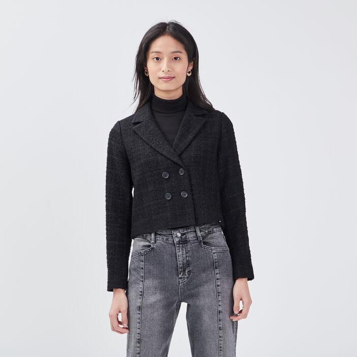Veste droite boutonnage croisé noir femme
