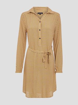 Robe droite ceinturee jaune or femme