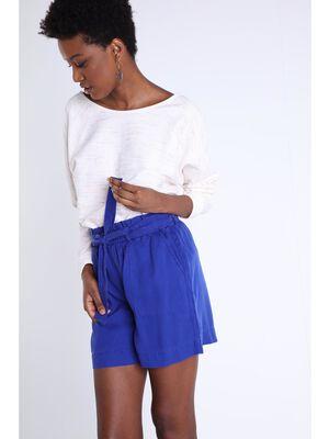 Short paper bag avec poches bleu violet femme