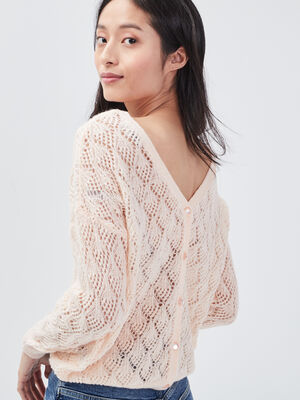 Pull manches longues ajoure rose poudree femme