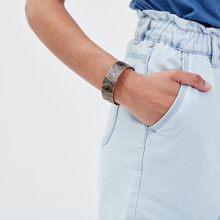 Bracelet manchette noir femme