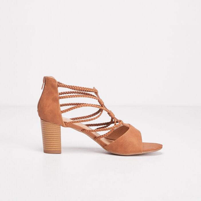 Sandales à talons avec brides marron femme