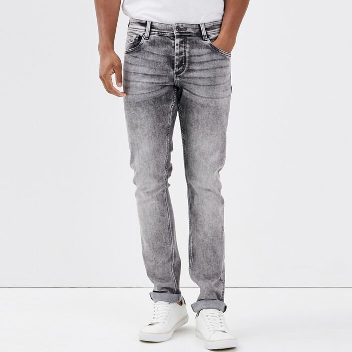 Jeans slim effet used Instinct denim gris homme