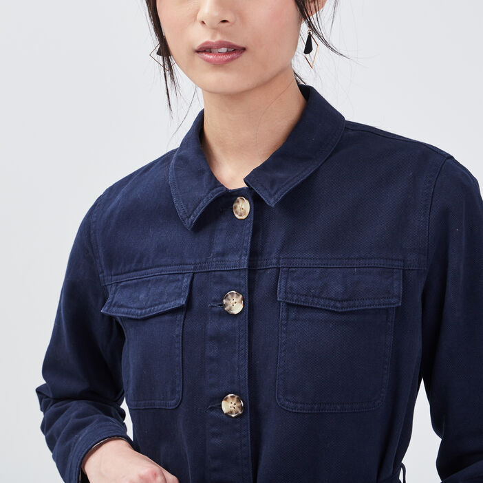 Veste droite ceinturée bleu marine femme