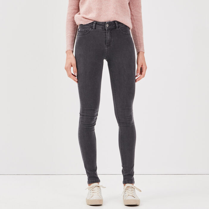 Jeans jegging skinny en coton bio gris foncé femme