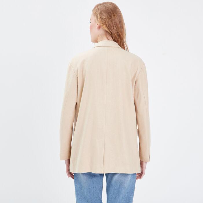Veste droite fluide camel femme