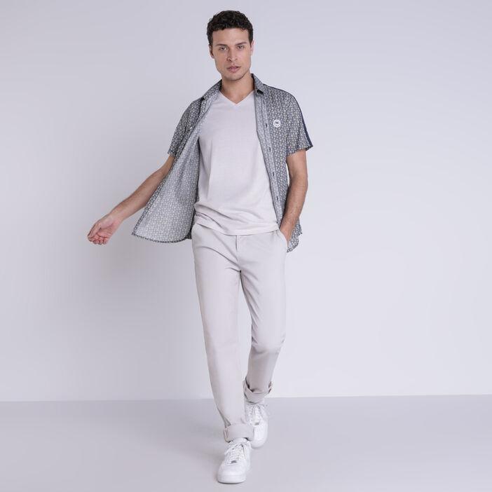 Chemise manches courtes ecru homme