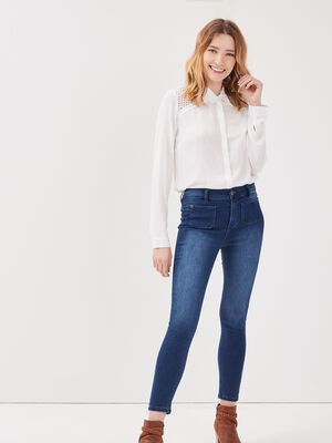 Jeans skinny poches plaquees denim stone femme