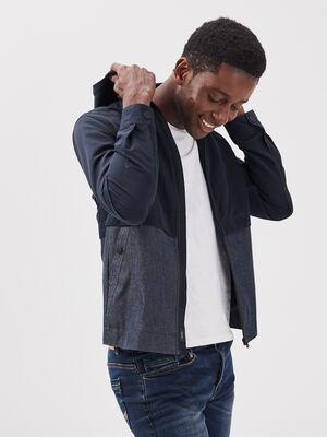 Veste droite zippee capuche bleu fonce homme