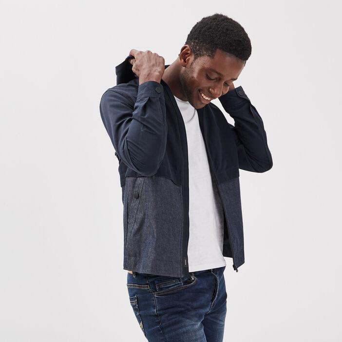 Veste droite zippée capuche bleu foncé homme