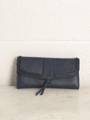 Portefeuille details tresses bleu fonce femme