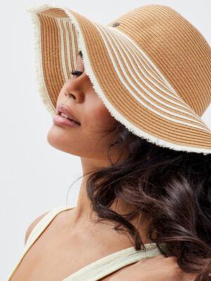 Chapeau rond avec franges sable femme