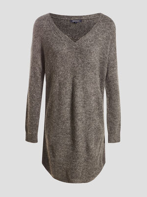 Robe pull droite gris fonce femme