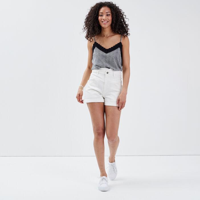 Short slim en jean denim blanc femme