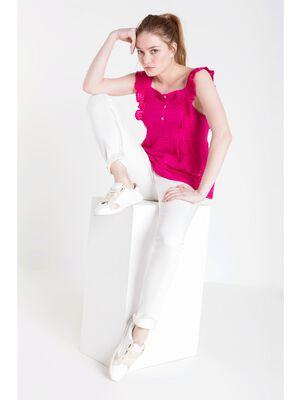 pantalon slim femme revers jambes white
