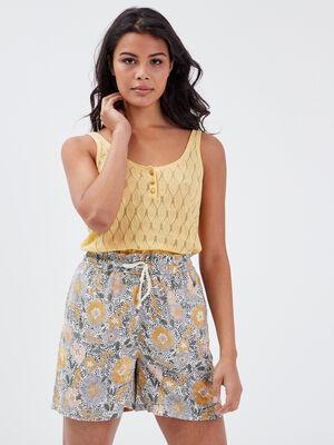 Pull bretelles larges jaune clair femme
