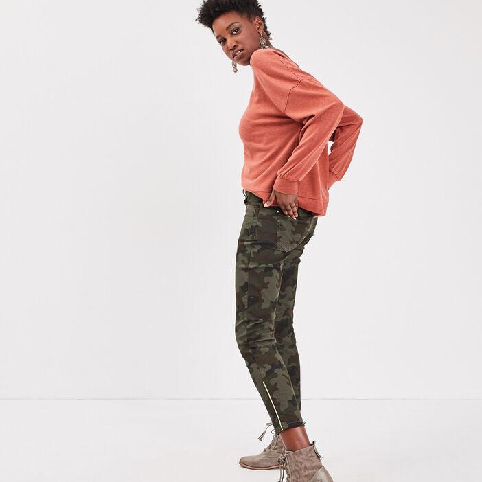 Pantalon slim 7/8ème vert kaki femme
