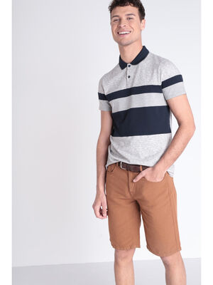 Polo manches courtes gris clair homme