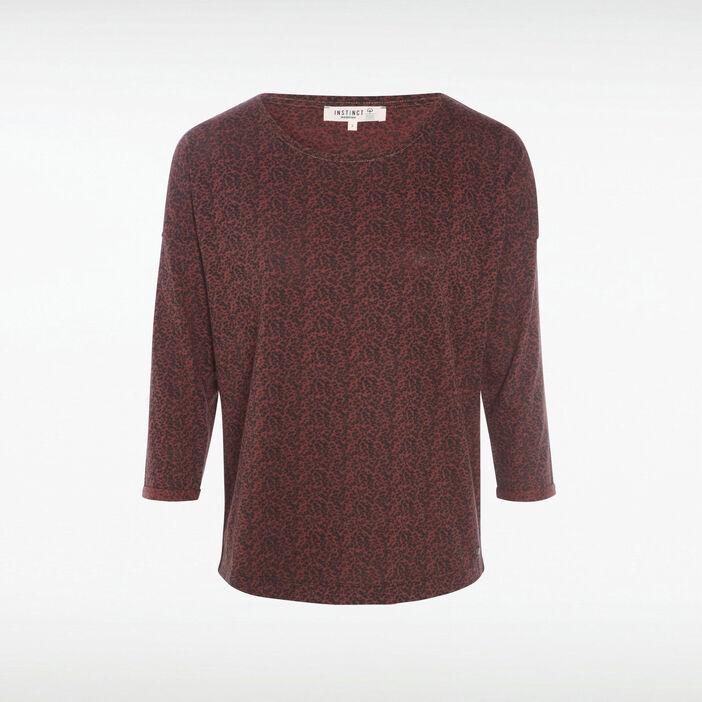 T-shirt Instinct manches 3/4 rouge foncé femme