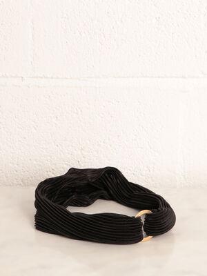 Bandeau plisse detail anneau noir femme