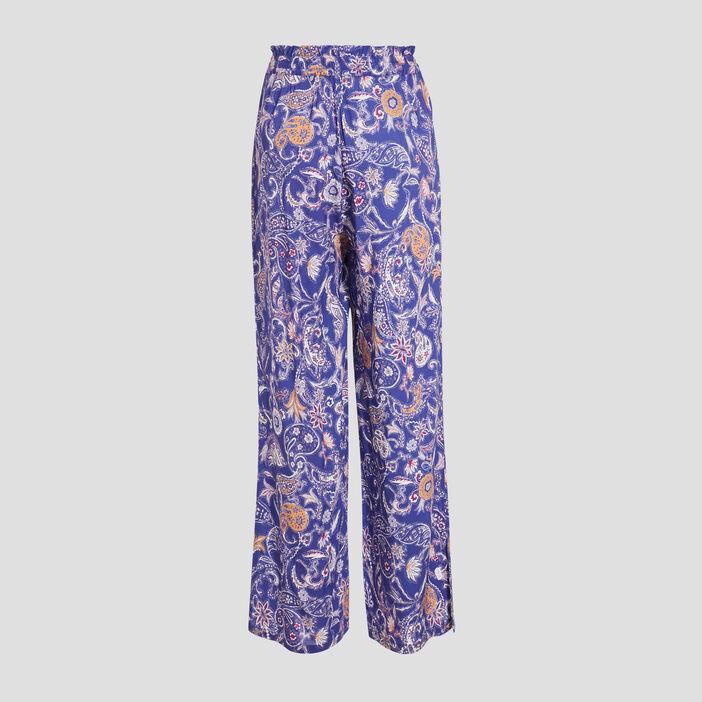 Pantalon large fluide bleu lavande femme
