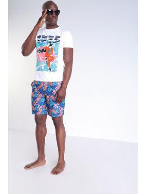 Short de bain poche bleu homme