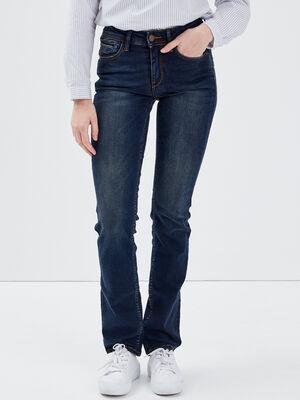 Jeans regular taille haute denim brut femme