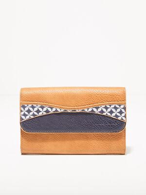 Portefeuille rectangulaire marron femme