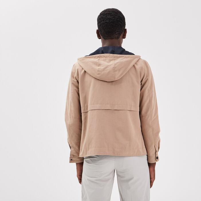Veste droite zippée capuche sable homme