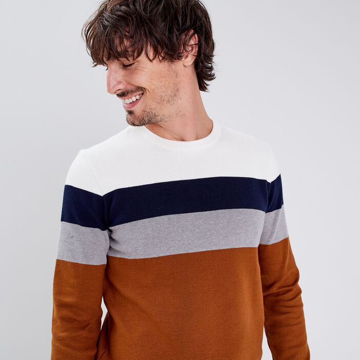 Pull manches longues camel homme
