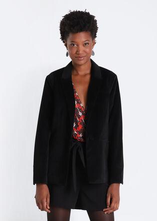 Veste blazer evasee noir femme