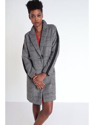 Manteau droit avec bandes noir femme