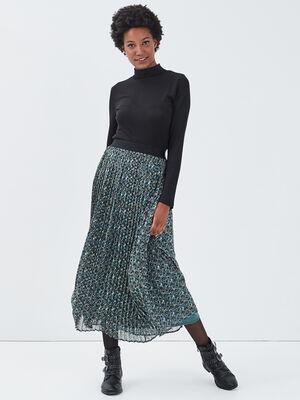 Jupe longue droite plissee vert emeraude femme