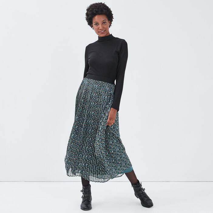Jupe longue droite plissée vert émeraude femme