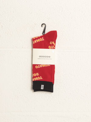 Chaussettes fantaisie rouge homme