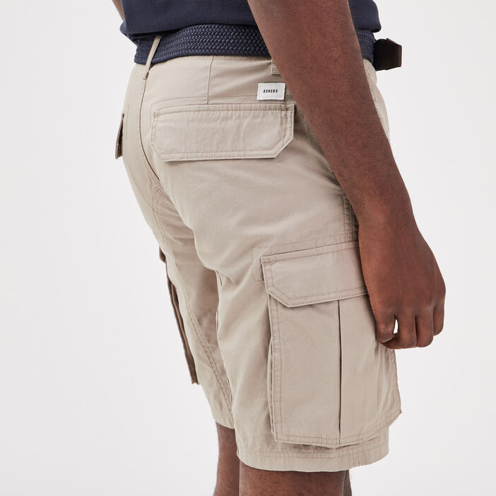 Bermuda cargo avec ceinture beige homme