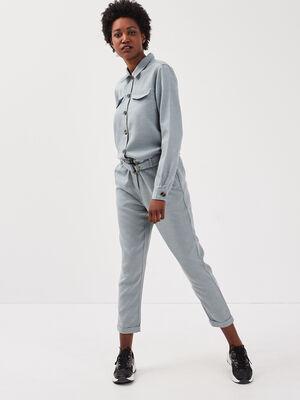 Combinaison pantalon boutonnee gris fonce femme
