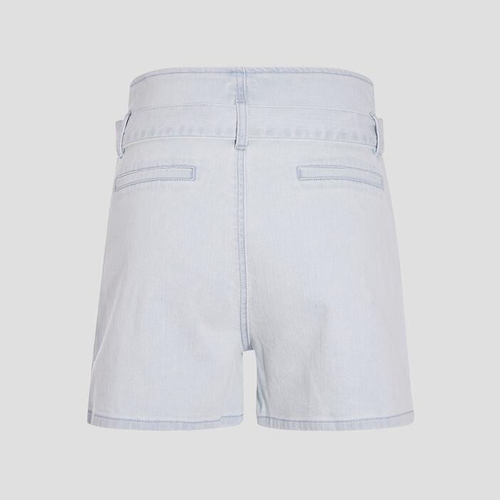 Short large à ceinture nouée denim bleach femme