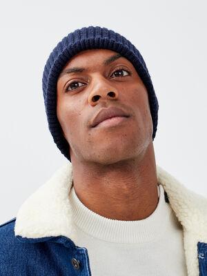 Bonnet tricote bleu fonce homme