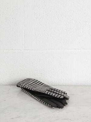 Gants bimatieres a motif bicolore noir femme