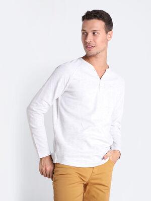 T shirt Instinct col tunisien ecru homme
